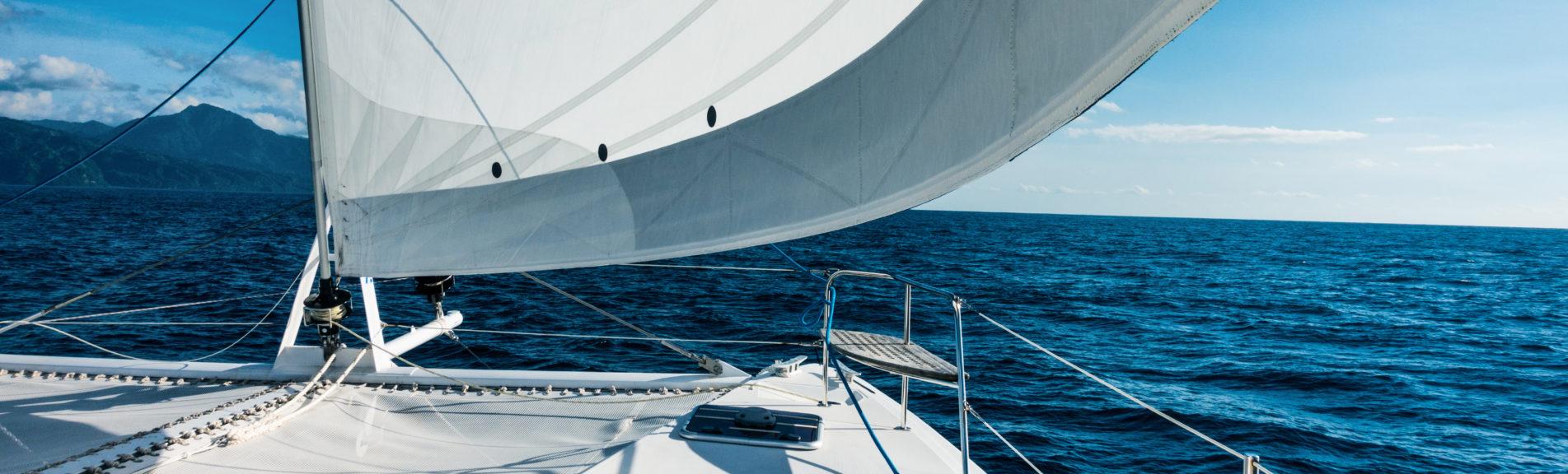 Sailing yacht catamaran sailing in the sea